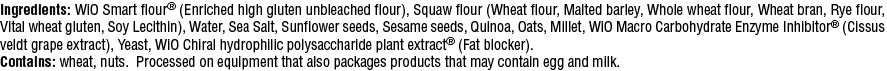 WiO 5 Grain Wheat Bread Ingredients